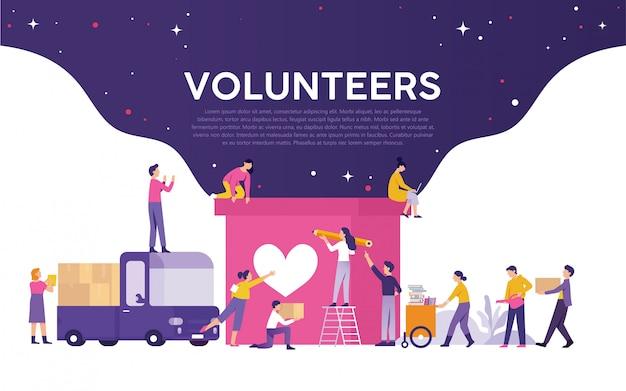 Voluntariado medios de ilustración Vector Premium