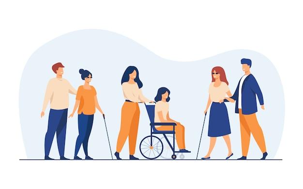 Voluntarios ayudando a amigos discapacitados a caminar al aire libre vector gratuito