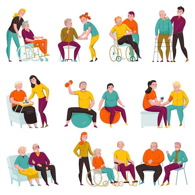 Voluntarios que ayudan a las personas mayores y discapacitadas en hogares de ancianos y apartamentos privados conjunto de ilustración vectorial plana vector gratuito