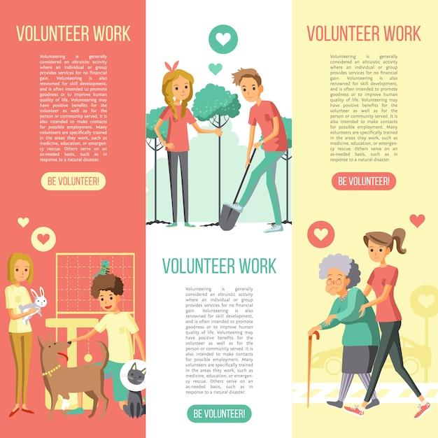 Voluntarios de trabajo conjunto de banners verticales. vector gratuito