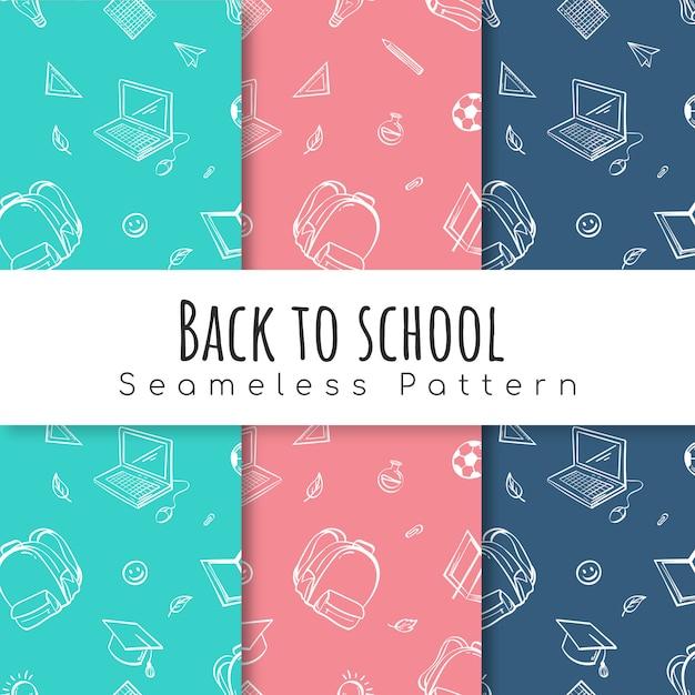 Volver al conjunto de patrones de la escuela. Vector Premium