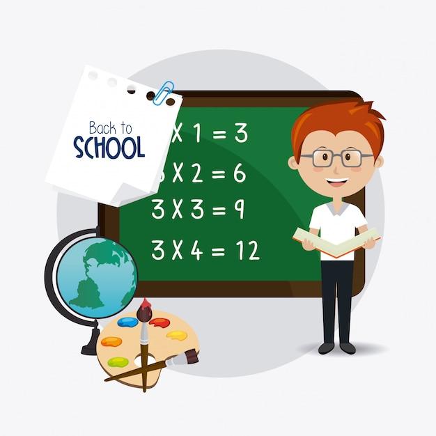 Volver al diseño de la escuela. Vector Premium