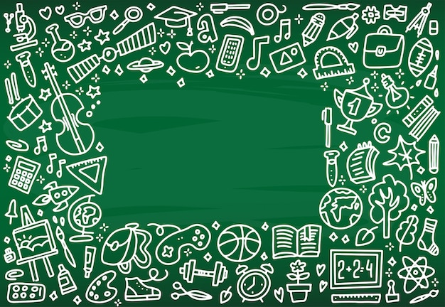 Volver al marco de la bandera de la escuela con textura de los iconos de arte de línea de la educación Vector Premium