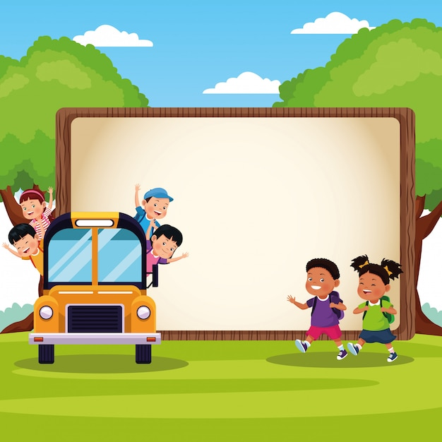 Volver a la escuela de dibujos animados para niños vector gratuito