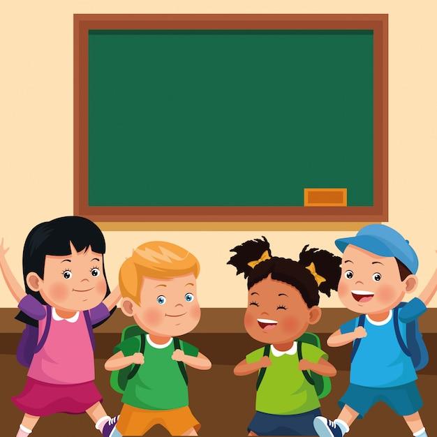 Volver A La Escuela De Dibujos Animados Para Niños Vector Gratis