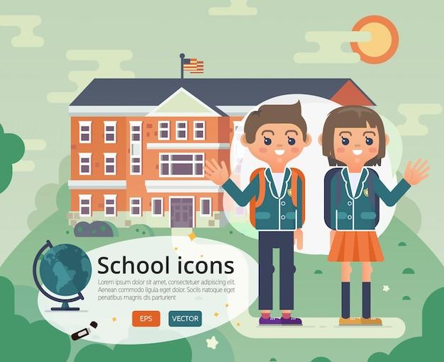 Volver a la escuela de diseño de portada con adolescente en uniforme. Vector Premium