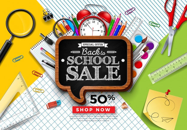 Volver a la escuela diseño de venta con lápiz de colores y pizarra en cuadrícula cuadrada y fondo de línea Vector Premium