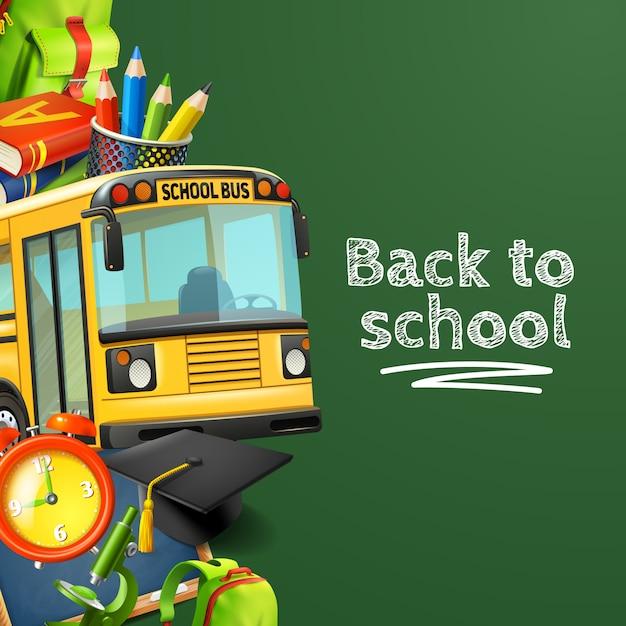 Volver a la escuela fondo verde con libros de lápices de autobús y reloj vector gratuito