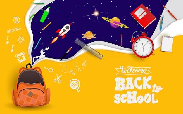 Volver a la escuela de fondo Vector Premium