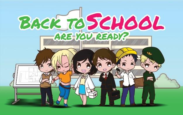 Volver a la escuela., niños en traje de trabajo., concepto de trabajo. Vector Premium