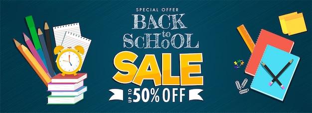 Volver a la escuela venta encabezado o banner y elementos de suministros educativos sobre fondo de líneas azules. Vector Premium