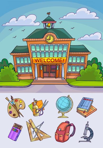 Volver a la ilustración de la escuela. construcción y suministros de equipos de aprendizaje o accesorios de oficina. Vector Premium