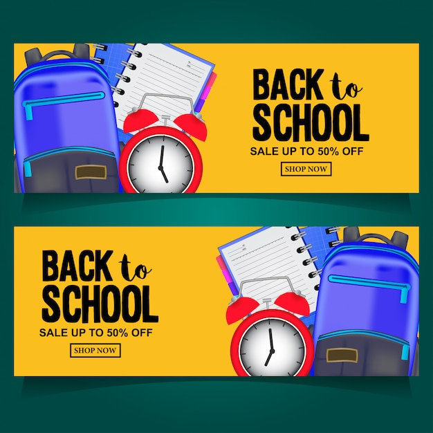 Volver a la venta de banner de la escuela con bolsa Vector Premium