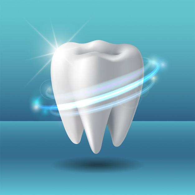 Vórtice protector alrededor del diente. blanqueamiento de dientes humanos. Vector Premium