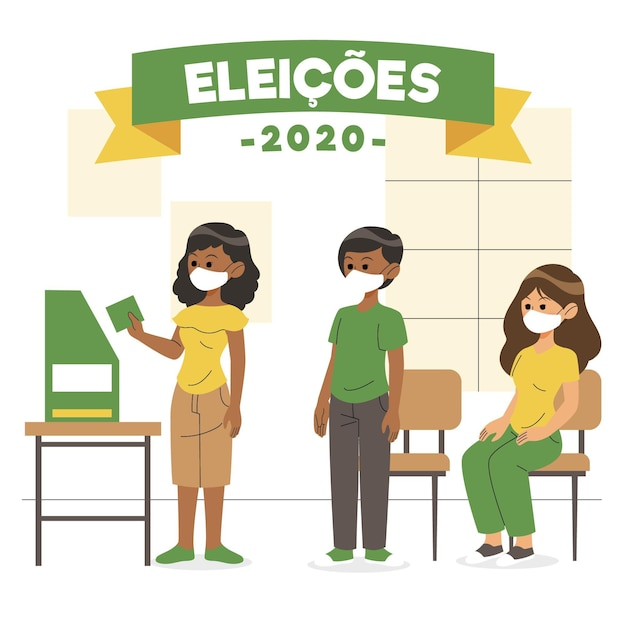Votantes de brasil esperando en cola Vector Premium