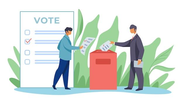 Votantes que insertan formularios en las urnas vector gratuito