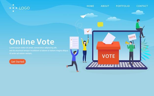Voto en línea, plantilla de sitio web, capas, fácil de editar y personalizar, concepto de ilustración Vector Premium