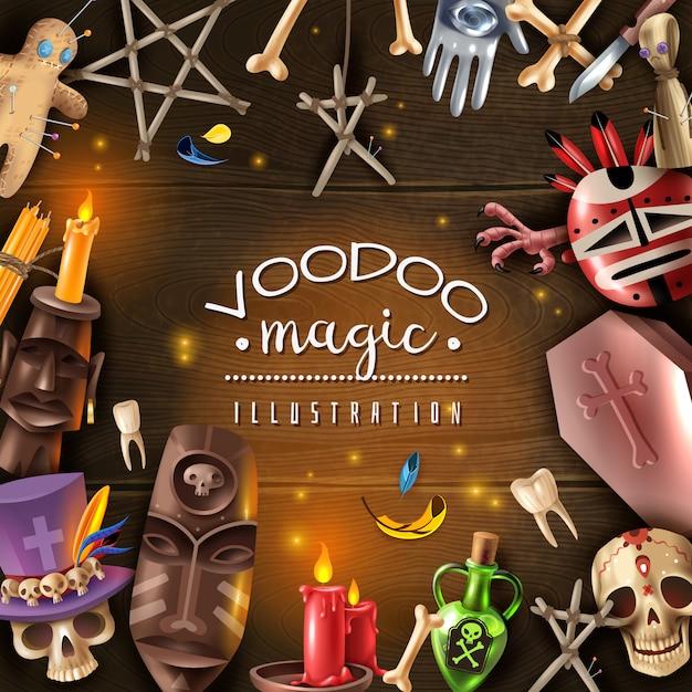 Vudú culto misterio objetos mágicos atributos realista marco de mesa de madera oscura con calavera a la luz de las velas muñeca alfileres ilustración vectorial vector gratuito