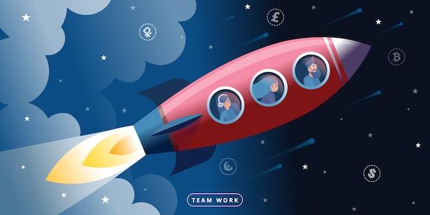 Vuelo en cohete espacial como metáfora de trabajo en equipo y colaboración. Vector Premium