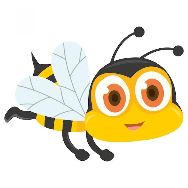 Vuelo lindo de la abeja aislado en el fondo blanco Vector Premium