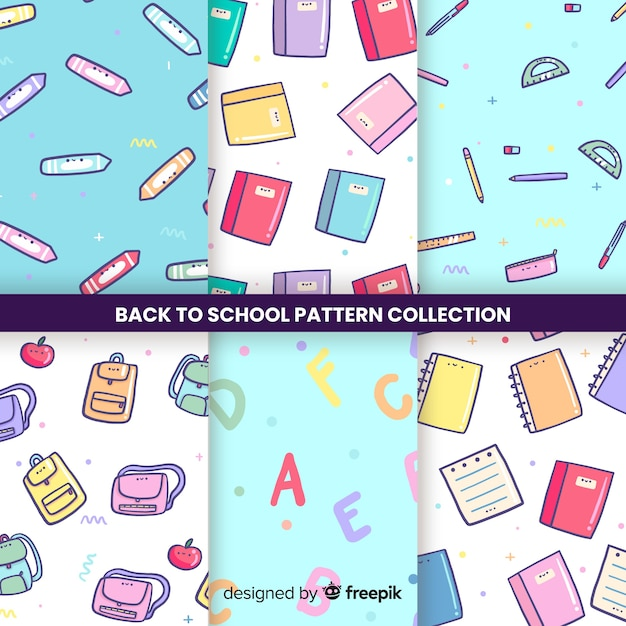 Vuelta al cole, colección de patrones infinitos vector gratuito