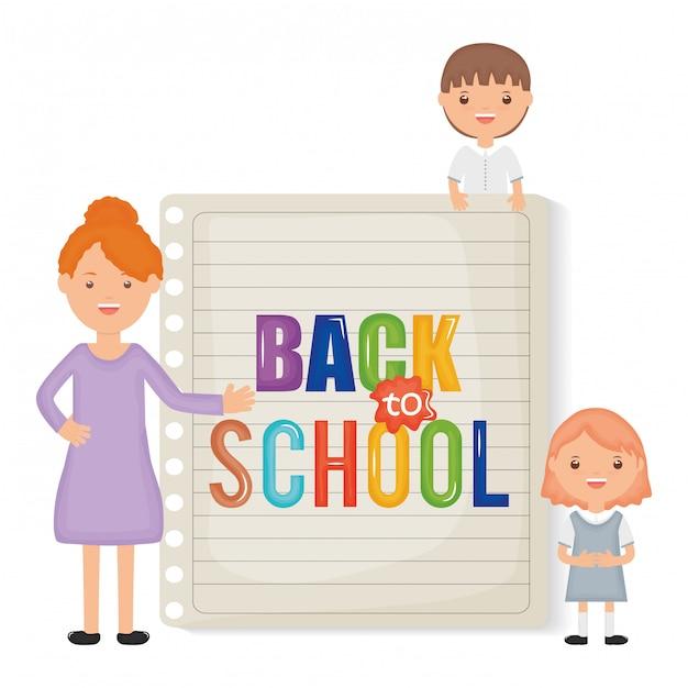De vuelta a la escuela. joven maestra con niños pequeños estudiantes vector gratuito