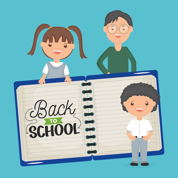 De vuelta a la escuela. joven profesor con pequeños alumnos y cuaderno. vector gratuito