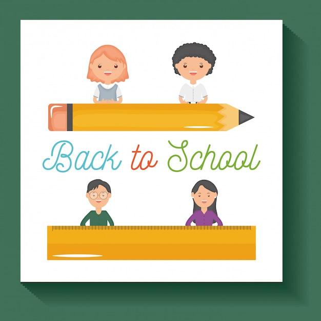 De vuelta a la escuela. jóvenes profesores de pareja y alumnos con útiles. vector gratuito