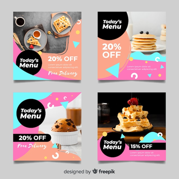 Waffles and muffins instagram post collection vector gratuito