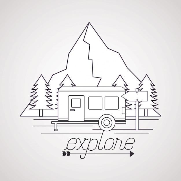 Wanderlust explora el paisaje de aventura vector gratuito