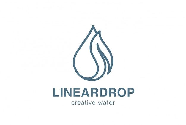 Waterdrop leaf logo icono de vector lineal. vector gratuito