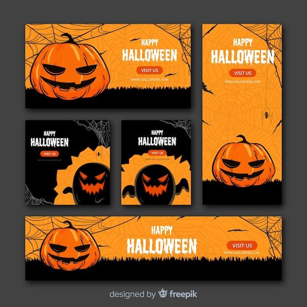 Web de banner de halloween vector gratuito