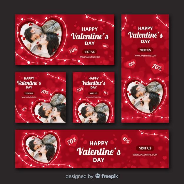 Web banners del día de san valentín con foto vector gratuito
