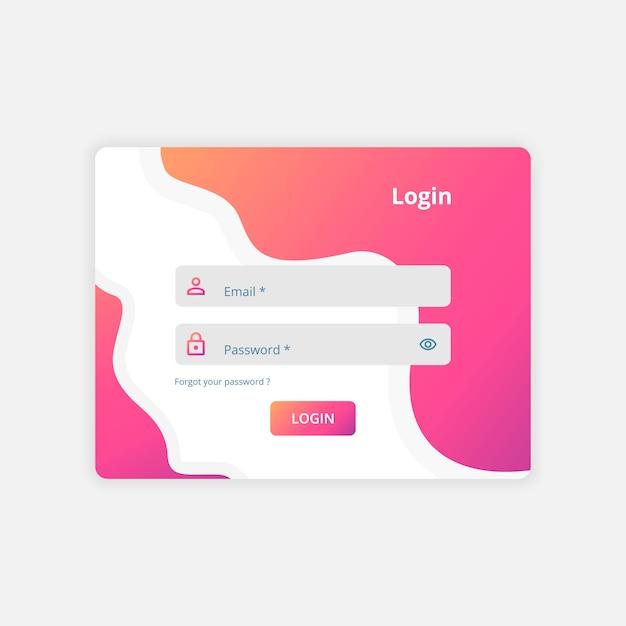 Web login ui diseño plantilla vector Vector Premium