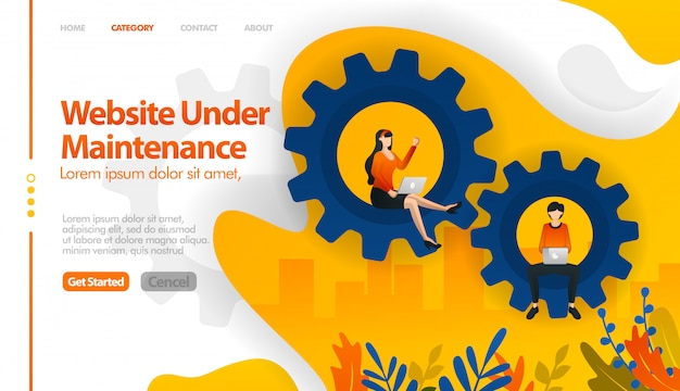 Web en mantenimiento, 404 no encontrado, web en ventas, web en reparación Vector Premium