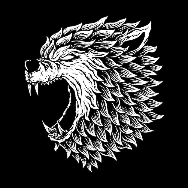 Werewolves de la cabeza, lobo humano, etiquetas o logotipo, Vector Premium