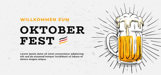 Willkommen zum oktoberfest póster diseño de plantilla de banner Vector Premium