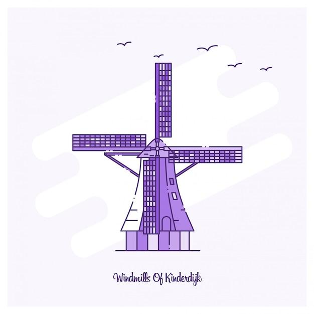 Windmills of kinderdijk emblema vector gratuito
