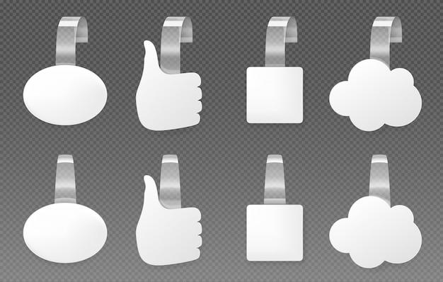 Wobblers publicitarios, conjunto de maquetas de burbujas de discurso vector gratuito