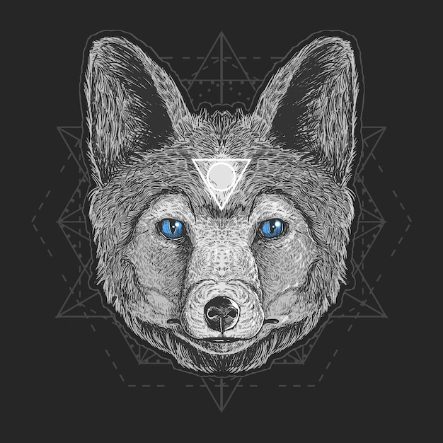 Wolf head detail vector elemento grabado Vector Premium