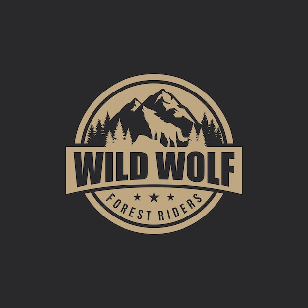 Wolf vintage logo stock vector Vector Premium