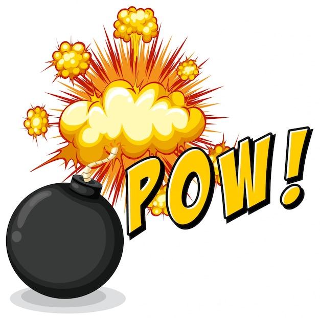 Word pow con bomba explosiva vector gratuito