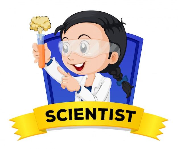 Wordcard de ocupación con científico femenino vector gratuito