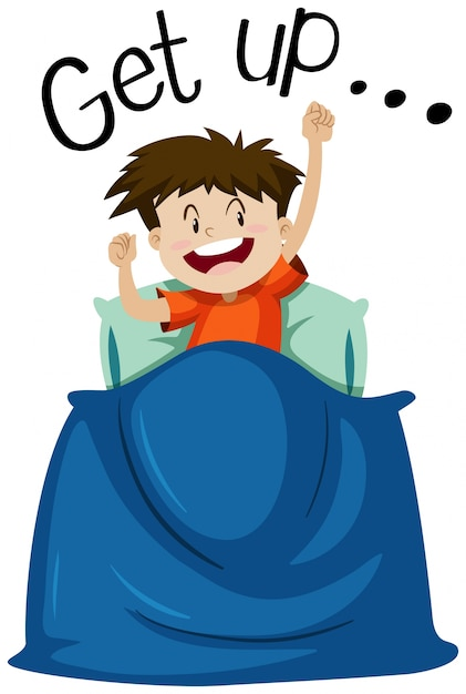 Wordcard para levantarse con chico levantándose | Descargar Vectores ...