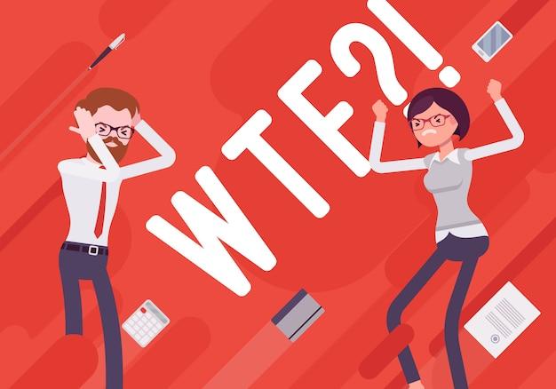 Wtf ilustración de desmotivación empresarial Vector Premium