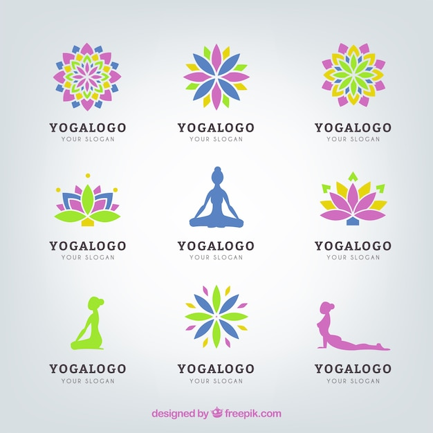 Yoga logo set Vector Premium