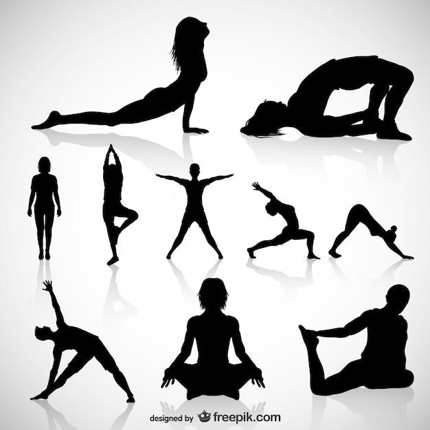 Yoga siluetas vector. vector gratuito