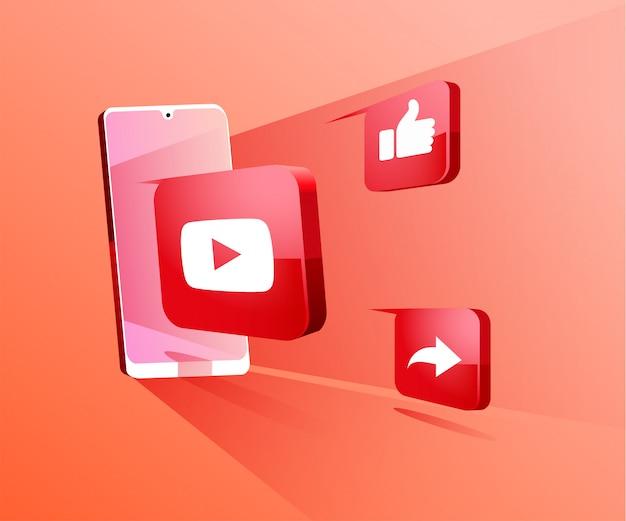 Youtube redes sociales 3d con ilustración de símbolo de teléfono inteligente Vector Premium