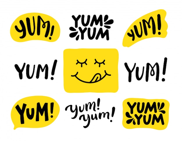 Yum yum palabras establecidas. . letras Vector Premium