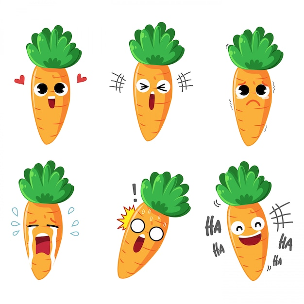 Zanahoria De Dibujos Animados De Emocion Variedad De Emociones Y Muchos Gestos Vector Premium Ventajas del cultivo de zanahorias. https www freepik es profile preagreement getstarted 5607024
